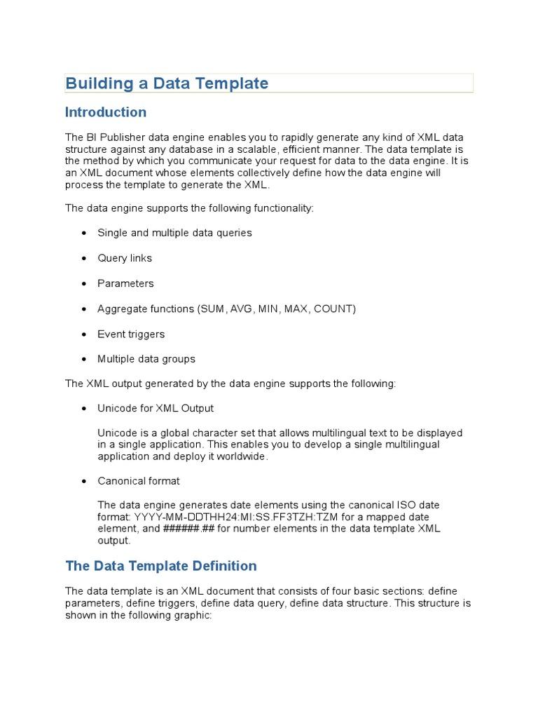 Building a Data Template DOCUMNET | Parameter (Computer Programming ...