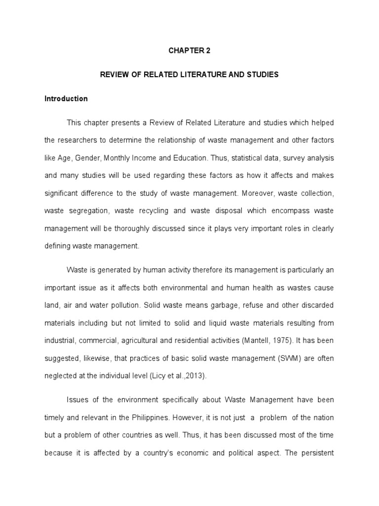 review of related literature on proper waste disposal