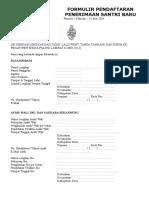 Formulir Pendaftaran Penerimaan Santri 2014