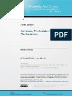 Barroco, Modernismo, Neobarroco - Ignacio Iriarte
