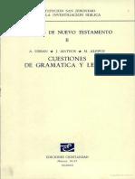 Estudios Del NT II Cuestiones de Gramática y Léxico