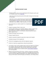 Procedure for Reimbursement Cases