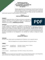 Marielos, Reglamento Interno de Trabajo 2014.