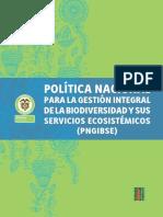 Política Nacional Para La Gestión Ambiental de La Biodiversidad y Sus Servicios Ecosistémicos