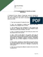 Affidavit of Guardianship of Minor (for Bank Deposits)