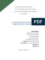 La Gestion de Tecnologia en La Generacion Del Conocimiento (UNIDAD 3)