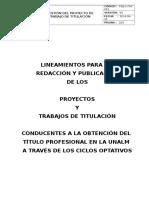 Procedimiento Para Realizar Trabajos de Titulación Ciclos Optativos Setiembre 2014