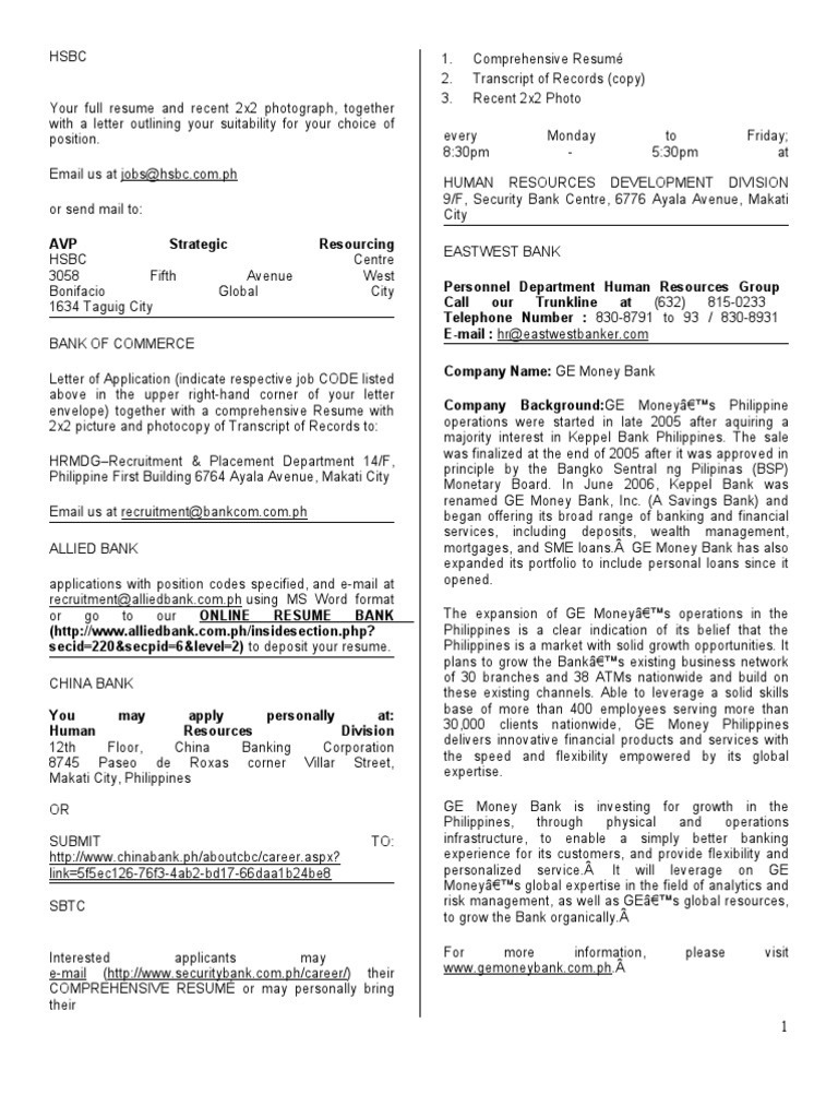 OJT/Job company information   Citigroup   Makati