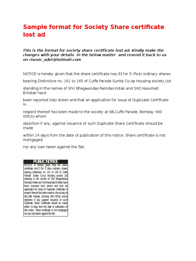 Format for society share certificate lost ad 1betcityfo Gallery