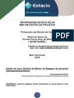 Fichamento Gerenciamento de Prazos - Pós Graduação Gestão de Projetos - Vicente Ferrer - Matricula 201607342065