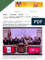 Ollanta, Su Transformación Económica Beneficiará Las Inversiones