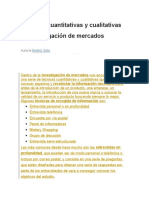 Técnicas Cuantitativas y Cualitativas de Investigación de Mercados