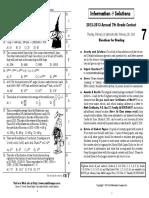 Chicago Math League Grade 7 2012-13 Solutions