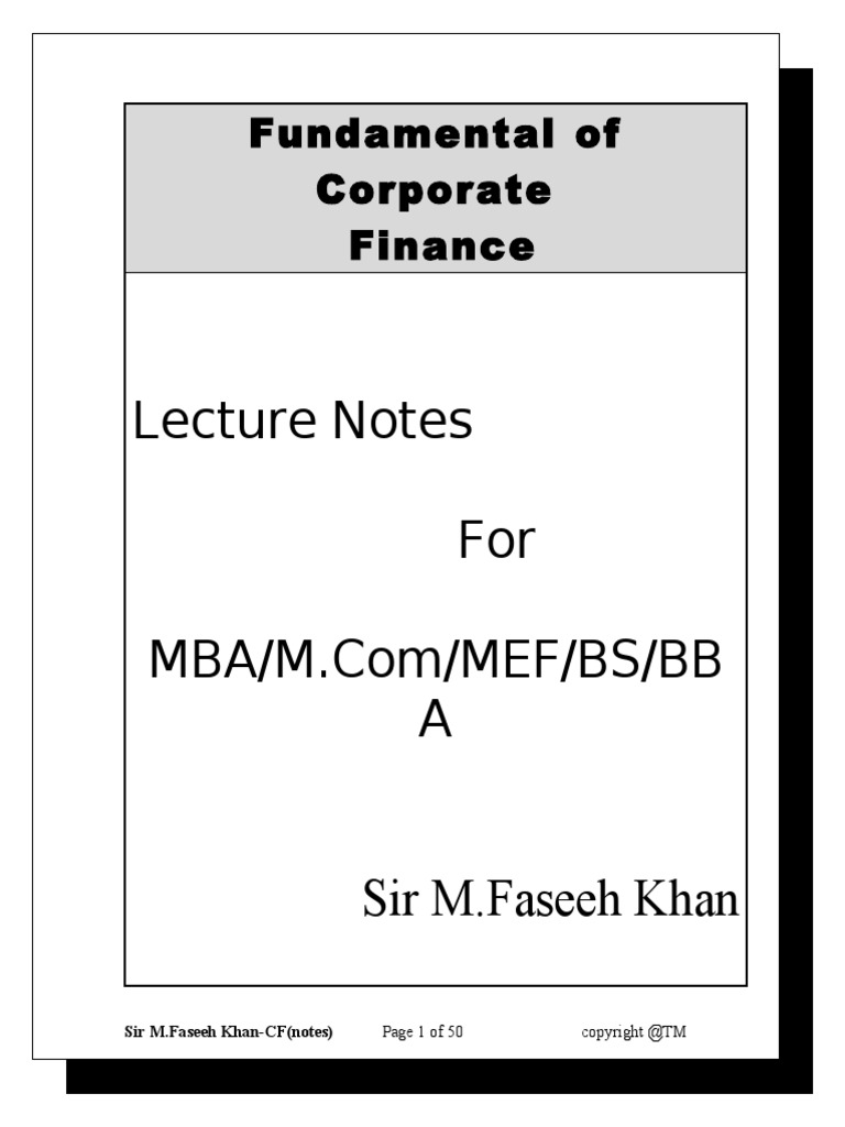 corporate finance notes