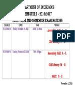 Additional Mid-semester 2016-2017 Semester I Timetable1