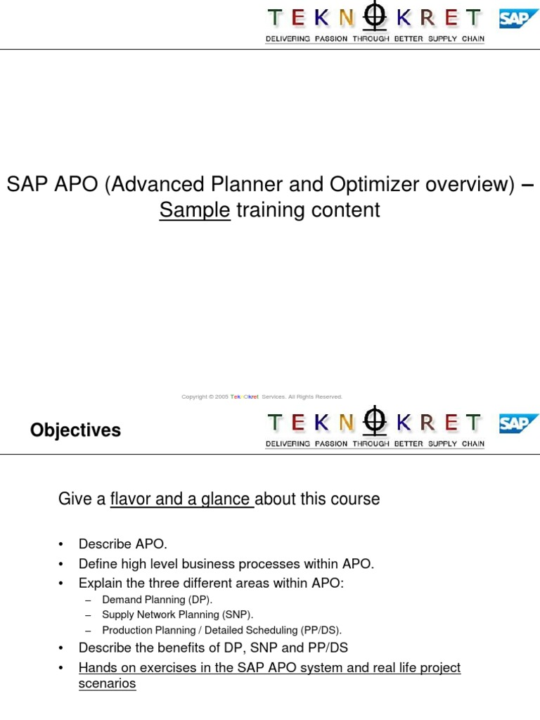 APO Overview Training - PPDS | Forecasting | Business Process