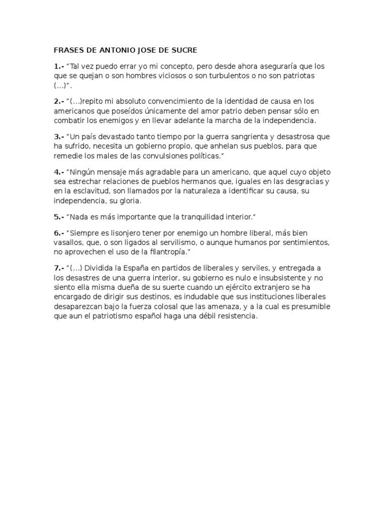 Frases De Antonio Jose De Sucre