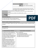 2nd grade adjectives lesson plan template - google docs