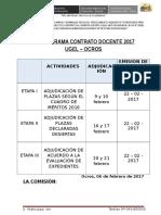 Cronograma de Contrato Docente 2017 - Ugel Ocros (Ancash)