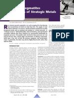 Pegmatites Strategic Metals
