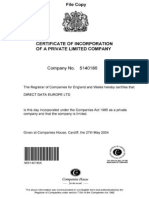 Direct Data Europe_Incorporation Documents