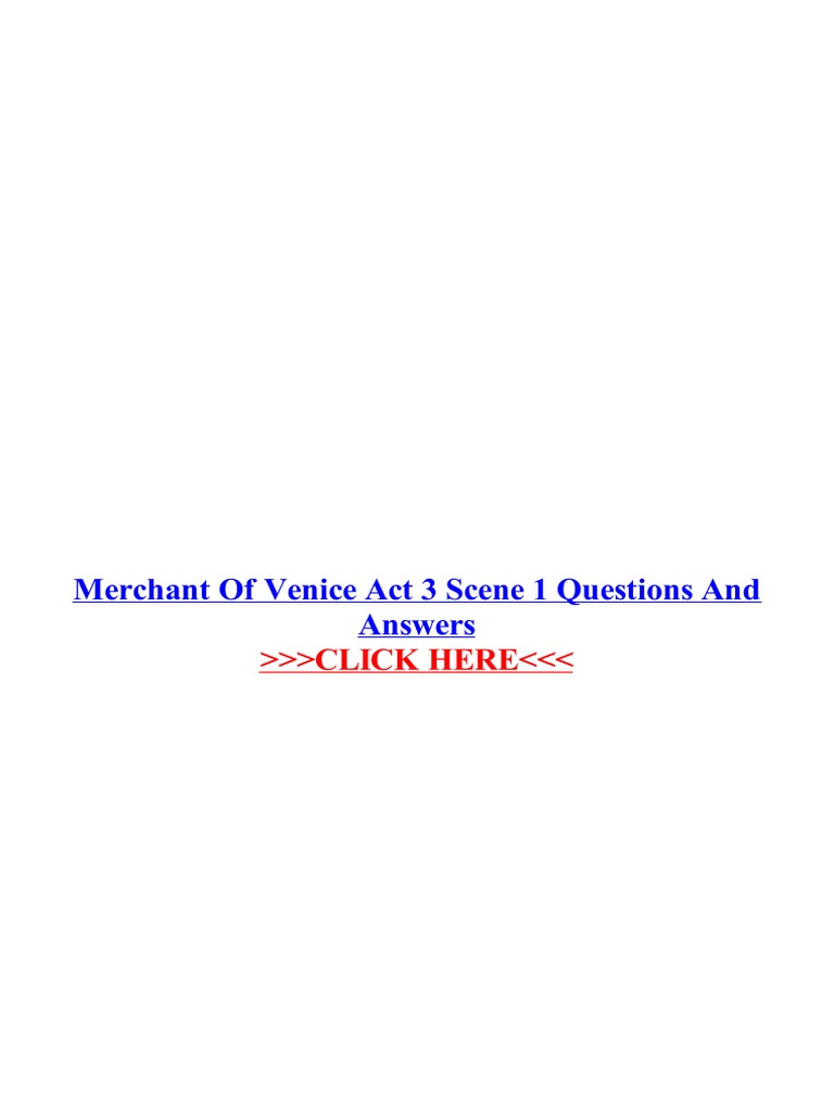 merchant of venice act 3 scene 1 questions and answers