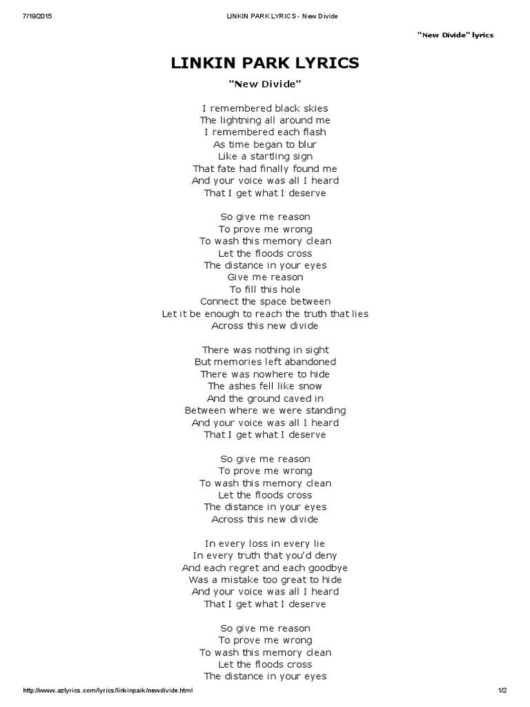 Linkin Park - New Divide | Leisure | Entertainment (General)