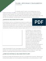 Helicobacter Pylori - Síntomas y Tratamiento » Md