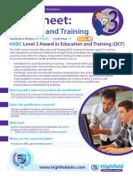[22042015 1602] HABC Level 3 Award in Education and Training (QCF)