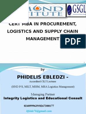 Lecture 1 and 2 Slide - CMBA Logistics - Procurement & SM