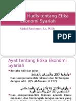 Ayat Dan Hadis Tentang Etika Ekonomi Syariah