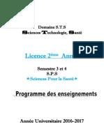 Livret 2 éme Année Sciences Pour la Santé S3 et S4