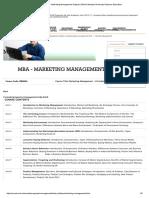MBA Syllabus - Marketing Management Subject