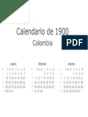 Calendario 1900.Calendario 1900 Enero Marzo