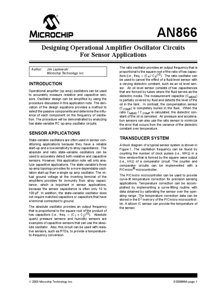 Designing Operational Amplifier Oscillator Circuits For Sensor Tl082 Dual Schematic Applications
