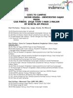 Goes to Campus Akademi Udara - Ugm - Goa Pindul Jogja 5h 2m by Kereta API