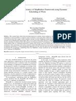 Improving Energy Efficiency of MapReduce Framework using Dynamic Scheduling of Work