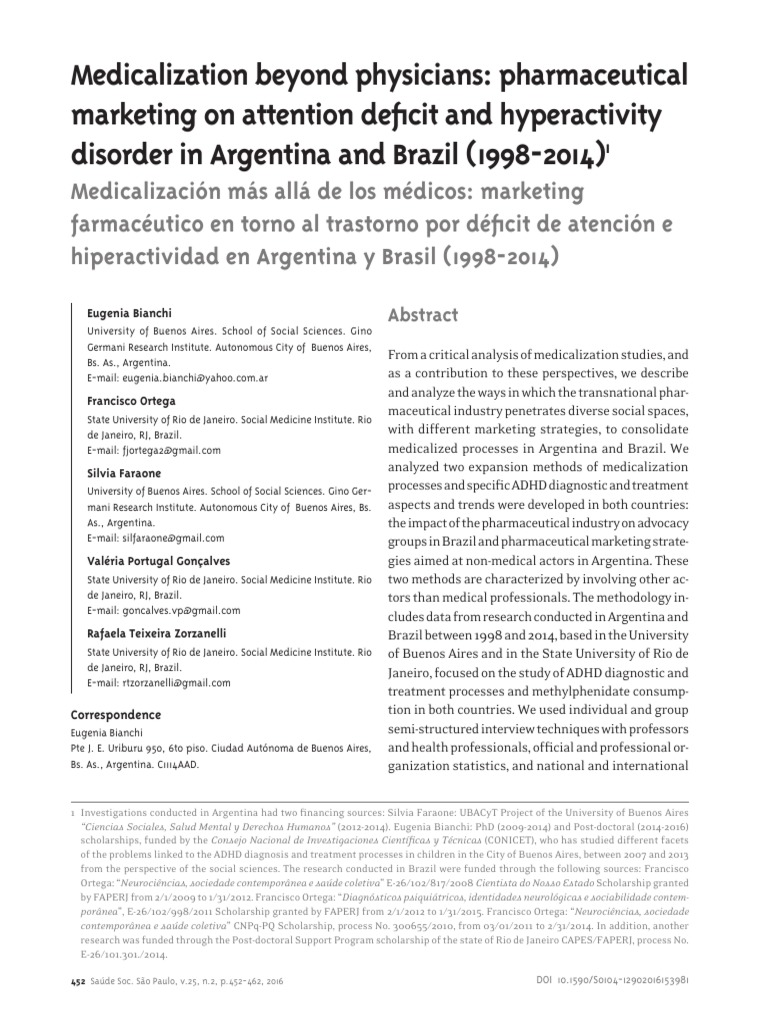 The Globalization Of Attention Deficit >> Saude E Sociedade Ing Pdf Attention Deficit Hyperactivity Disorder