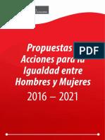 Propuestas Acciones Para La Igualdad Entre Hombres Mujeres 2016 2021
