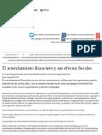 El Arrendamiento Financiero y Sus Efectos Fiscales