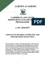 St. Maarten Academy - CAPE Associate Degree Programmes 2016-2017