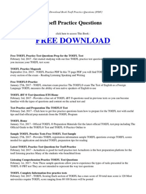 TOEFL Manual New   Test Of English As A Foreign Language