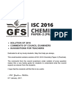 ISC 2016 Chemistry Paper 2 Practical Solved