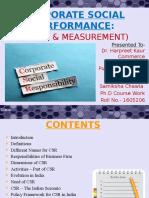 CSR - Areas & Measurement