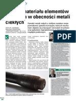 Korozja Materiału Elementów Złącznych w Obecności Metali Ciekłych