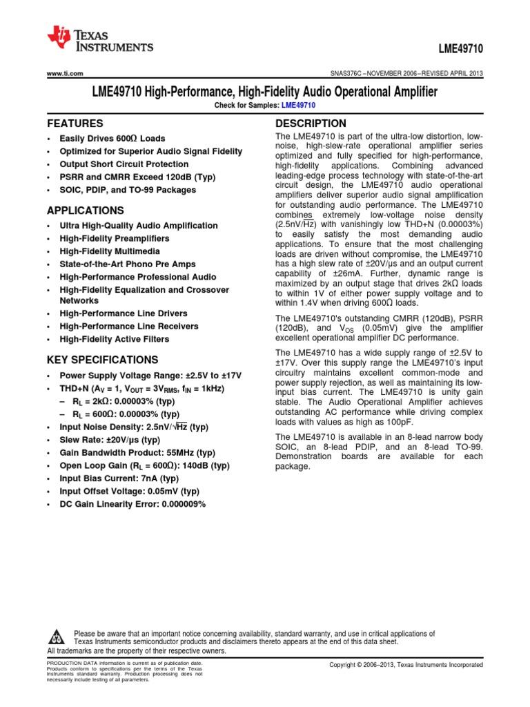 lme49710 | Amplifier | Operational Amplifier