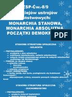 ZSP-Cw.-8-9 - Monarchia Stanowa I Absolutna. Początki Demokracji
