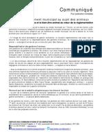 Laval - Nouveau règlement concernant les animaux domestiques - Communiqué de presse