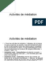 Activités de Médiation