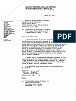 Coretta Scott King 1986 Letter and Testimony Signed